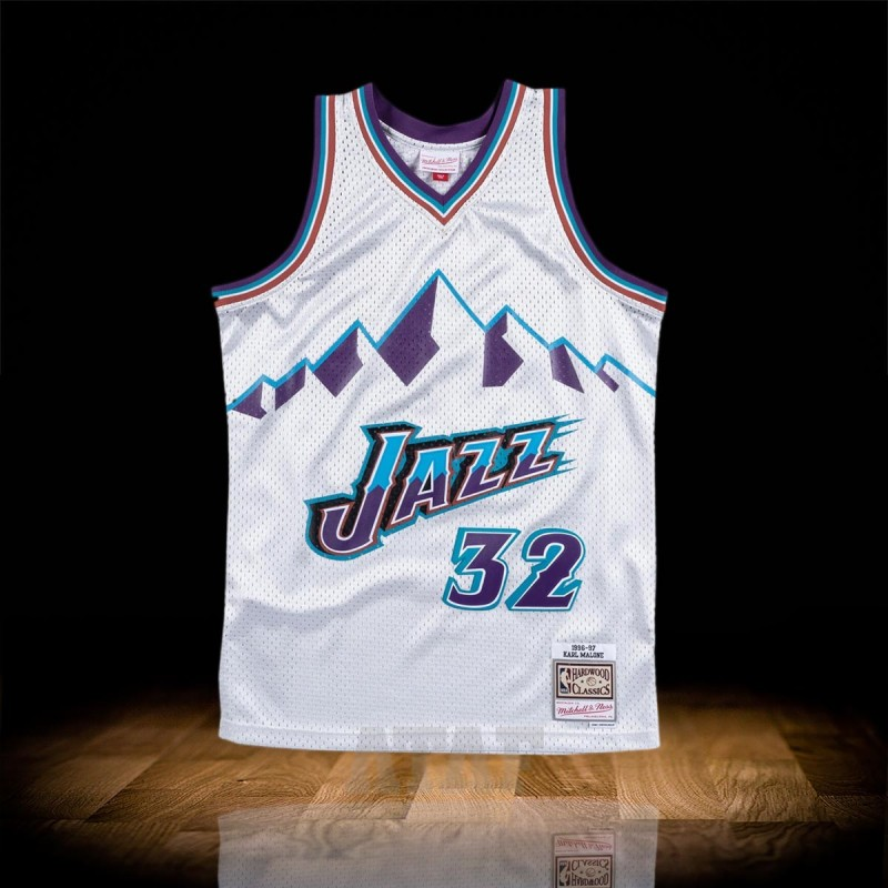 detailed look c18ea 2831b Mitchell & Ness NBA Platinum Silver Jersey Utah Jazz Karl Malone 1996-97