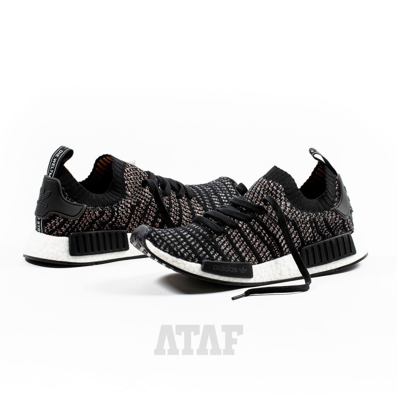 check out 483b7 acff0 Adidas NMD R1 STLT Primeknit Core Black Grey Four Solar Pink
