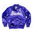 Mitchell & Ness NBA Milwaukee Bucks Special Script Lightweight Satin Jacket Purple