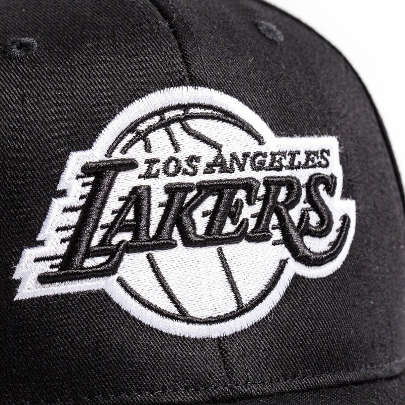 Mitchell & Ness NBA Los Angeles Lakers Black and White Logo 110 6 Panel Snapback Black