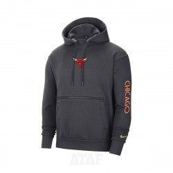 Nike NBA Chicago Bulls Courtside City Edition Pullover Hoodie Grey