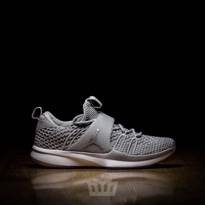 online store c31cd a1384 Nike Air Jordan Trainer 2 Flyknit Wolf Grey Metallic Silver