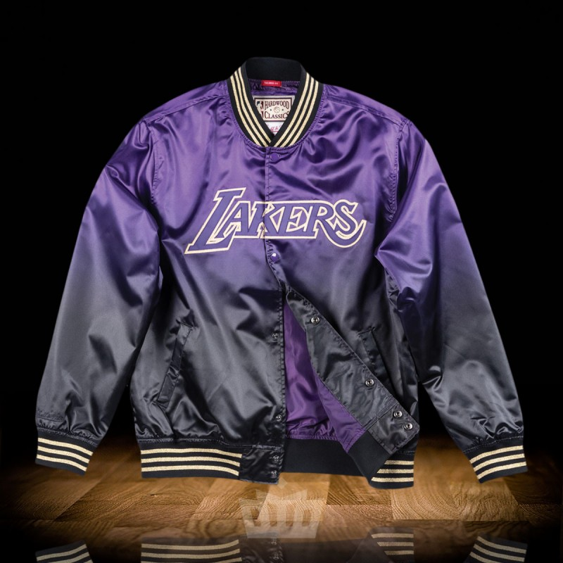 competitive price 47295 bf660 Mitchell   Ness NBA Los Angeles Lakers CNY Lightweight Satin Jacket Purple  Black
